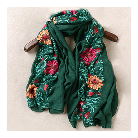 Embroidery Scarf Woman National Style Tippet   green - Mega Save Wholesale & Retail