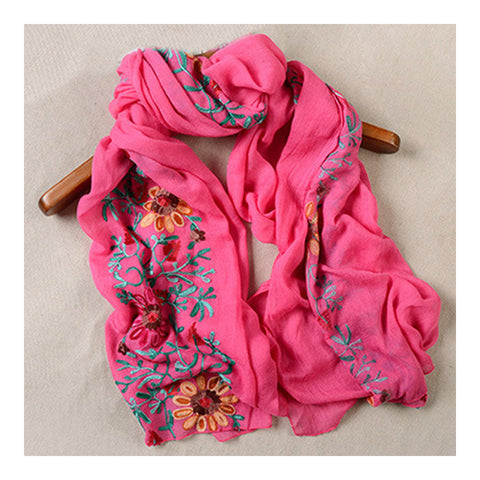 Embroidery Scarf Woman National Style Tippet   rose red - Mega Save Wholesale & Retail