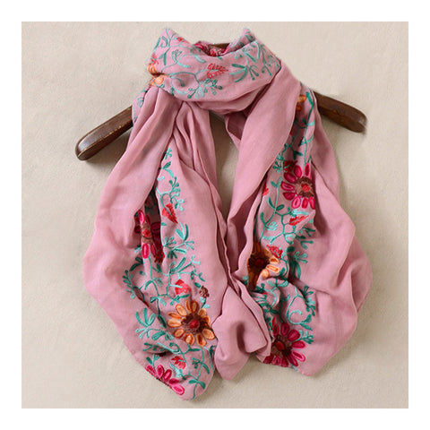 Embroidery Scarf Woman National Style Tippet   rubber pink - Mega Save Wholesale & Retail