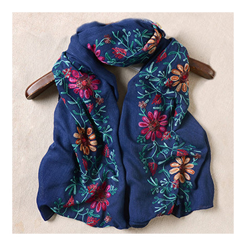 Embroidery Scarf Woman National Style Tippet   navy - Mega Save Wholesale & Retail