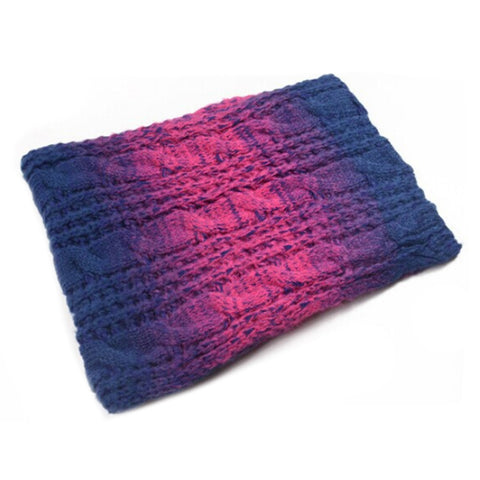 Kintted Wool Scarf Gradient Hemp Flower   red blue - Mega Save Wholesale & Retail - 1