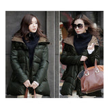 Thick Down Coat Middle Long Plus Size Woman Slim    army green    S - Mega Save Wholesale & Retail - 2