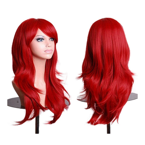 "27.5"" 70cm Long Wavy Curly Cosplay Fashion Mermaid Fantasy Wig heat resistant  bright red - Mega Save Wholesale & Retail"