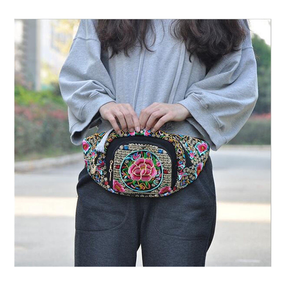 New Original Design Cosmetic Bag Woman's Bag High Volume Waist Bag    copper crash tree  with flower - Mega Save Wholesale & Retail - 1