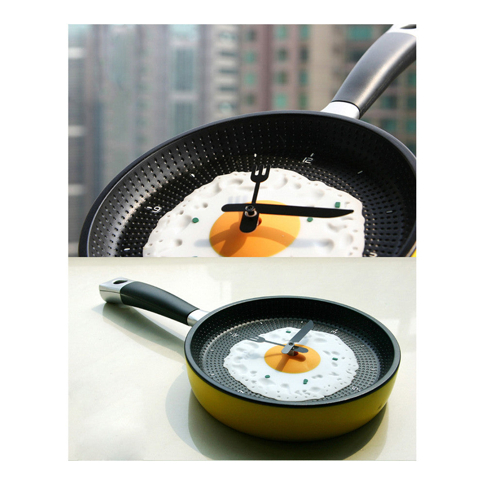 Creative Fried Egg Pan Wall Clock Silent   youthful green - Mega Save Wholesale & Retail - 3