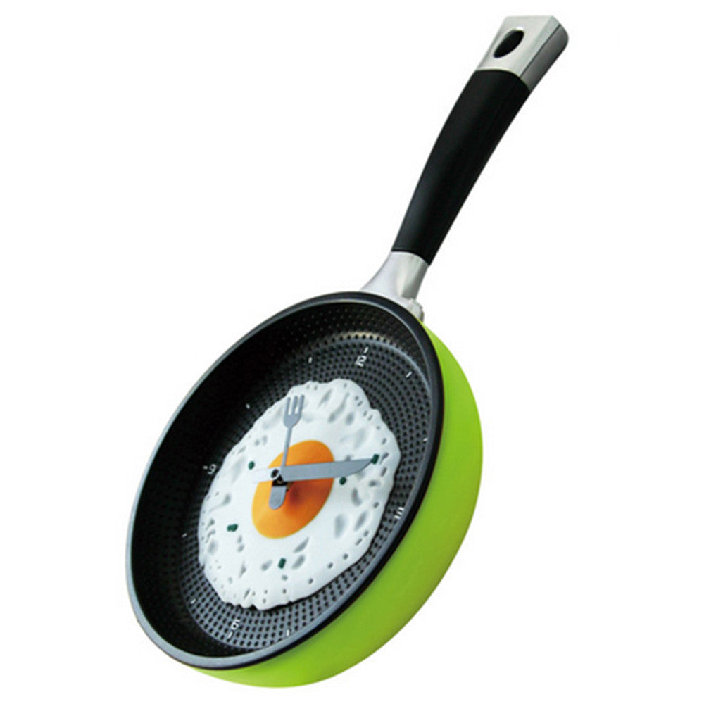 Creative Fried Egg Pan Wall Clock Silent   youthful green - Mega Save Wholesale & Retail - 2