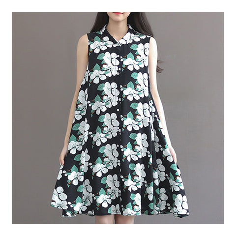 Fresh Sweet Dress Chiffon Floral Middle Long   S - Mega Save Wholesale & Retail
