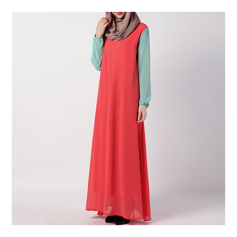 Summer Dress Muslim Splicing Bowknot Chiffon Dress   orange+green - Mega Save Wholesale & Retail - 1