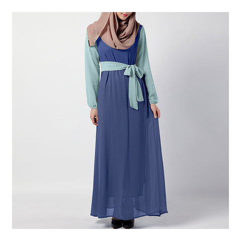 Summer Dress Muslim Splicing Bowknot Chiffon Dress   blue+light green - Mega Save Wholesale & Retail - 1