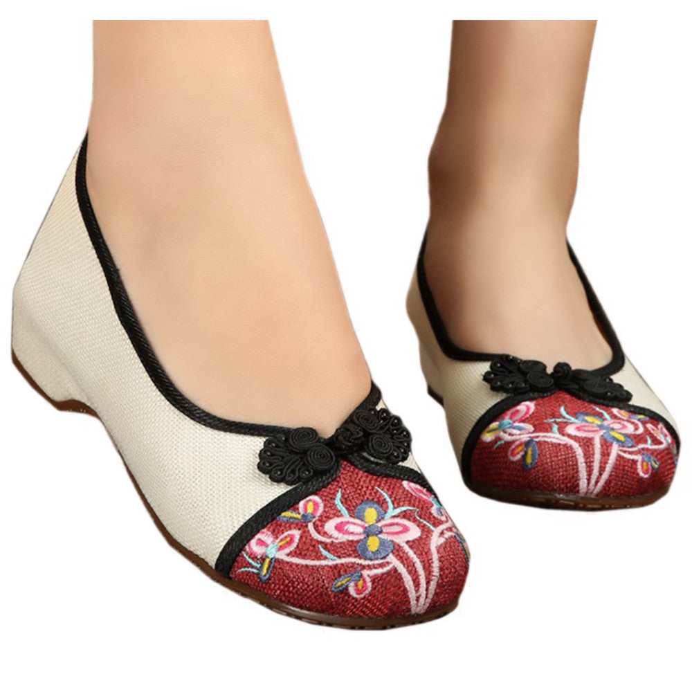 Peacock Old Beijing Cloth Embroidered Shoes   white - Mega Save Wholesale & Retail - 1