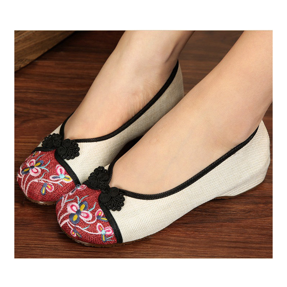 Peacock Old Beijing Cloth Embroidered Shoes   white - Mega Save Wholesale & Retail - 2