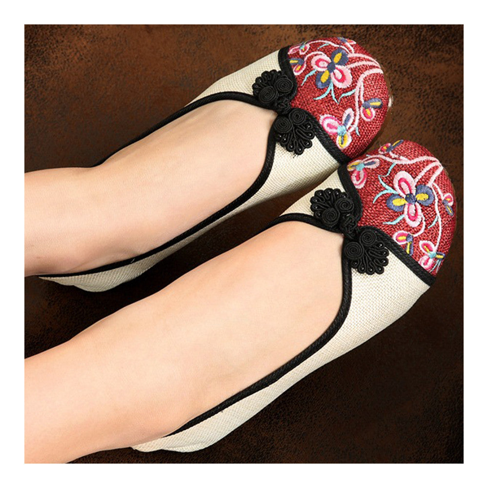 Peacock Old Beijing Cloth Embroidered Shoes   white - Mega Save Wholesale & Retail - 3