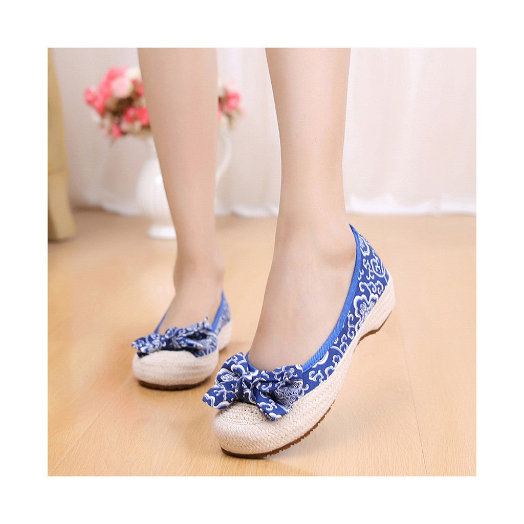 Old Beijing Cloth Shoes Woman Embroidered Shoes Literary Style Slipsole Increased within  blue - Mega Save Wholesale & Retail - 1