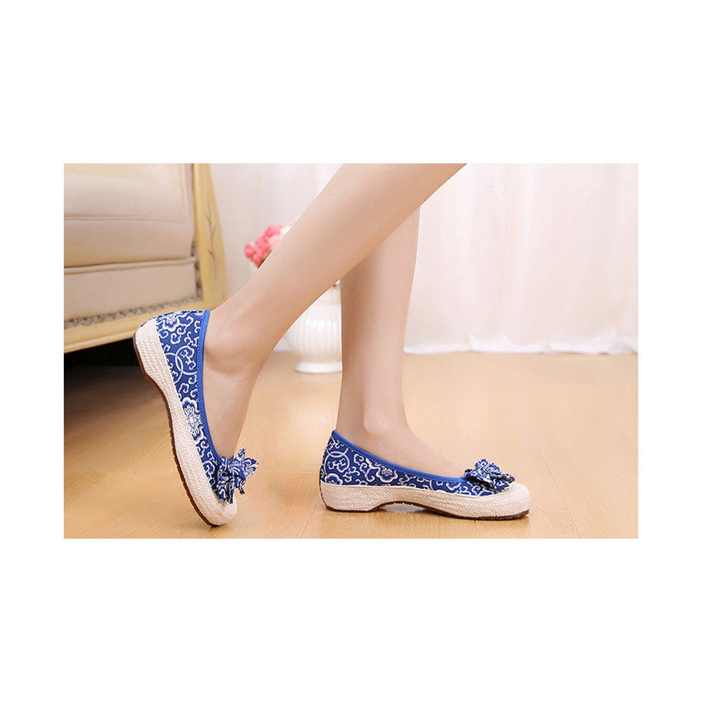 Old Beijing Cloth Shoes Woman Embroidered Shoes Literary Style Slipsole Increased within  blue - Mega Save Wholesale & Retail - 2