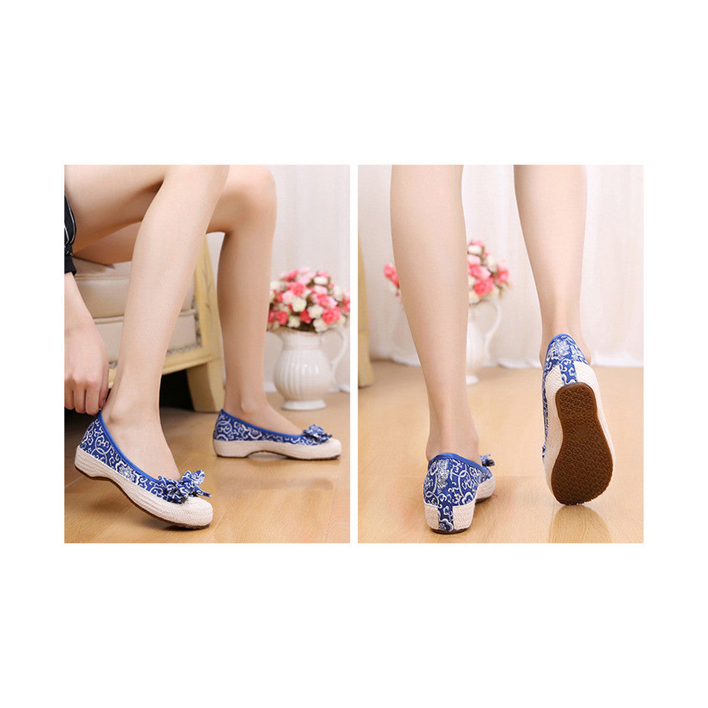 Old Beijing Cloth Shoes Woman Embroidered Shoes Literary Style Slipsole Increased within  blue - Mega Save Wholesale & Retail - 3