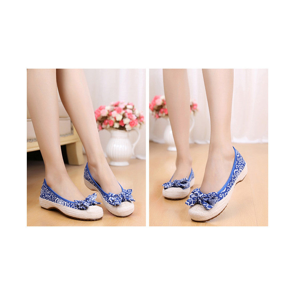 Old Beijing Cloth Shoes Woman Embroidered Shoes Literary Style Slipsole Increased within  blue - Mega Save Wholesale & Retail - 4