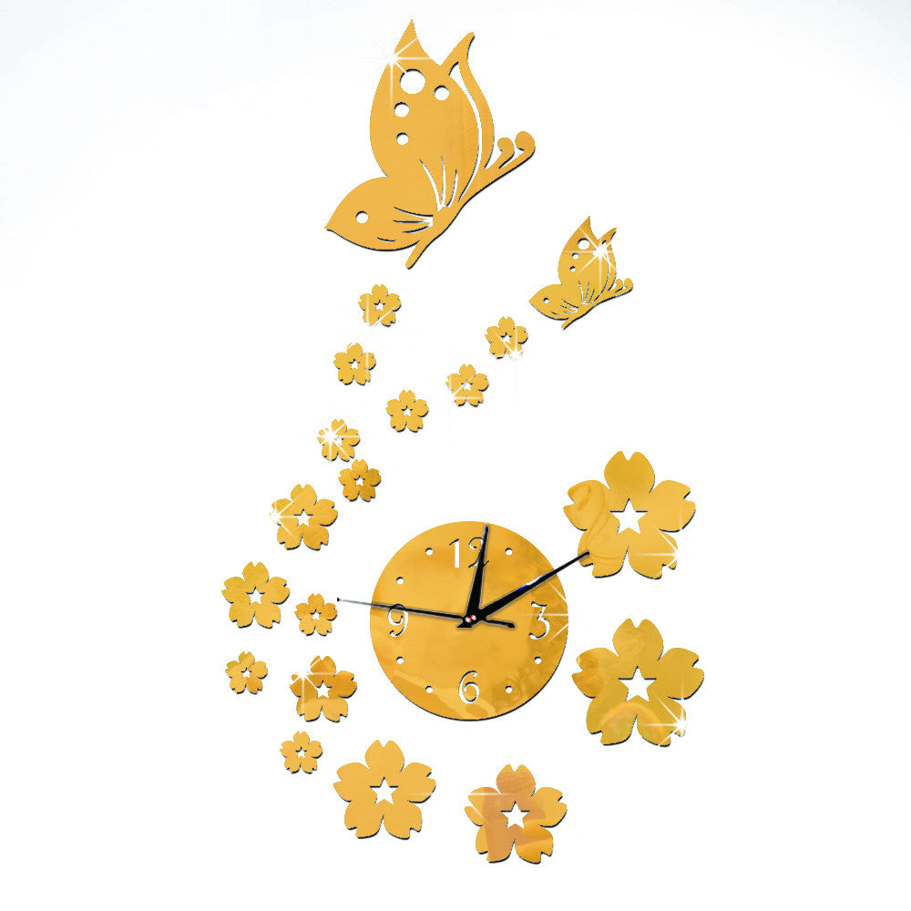 Mirror Wall Clock Living Room 3D Butterfly Flower   golden mirror - Mega Save Wholesale & Retail