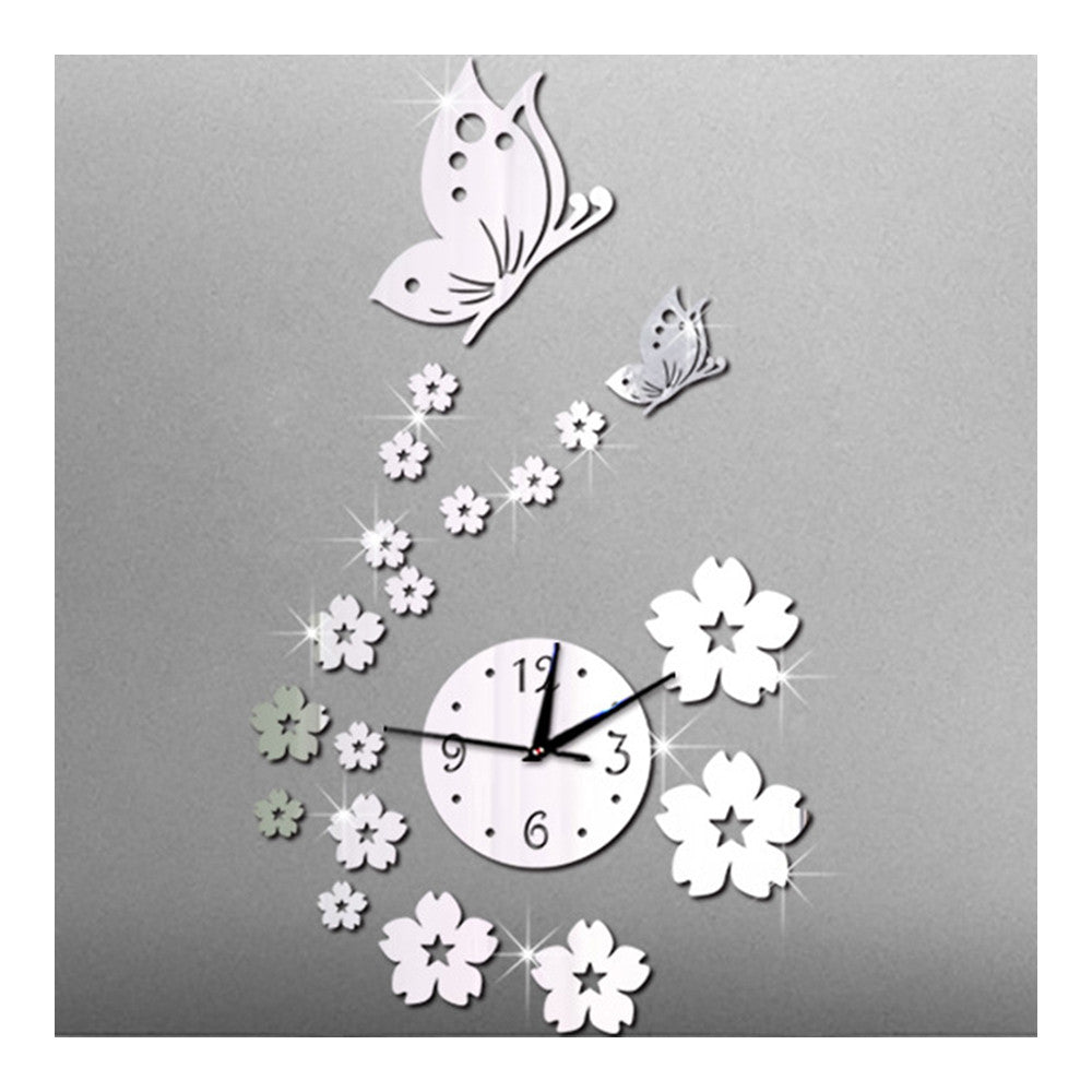 Mirror Wall Clock Living Room 3D Butterfly Flower   silver mirror - Mega Save Wholesale & Retail