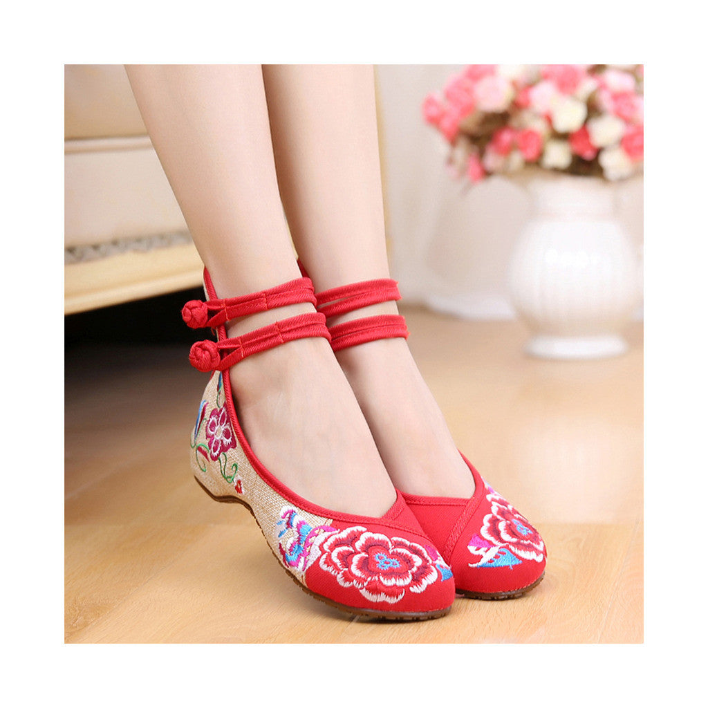 Old Beijing Low Cut National Style Red Shoes in Casual Vintage Embroidery Style & Durable Cowhell Sole - Mega Save Wholesale & Retail - 2
