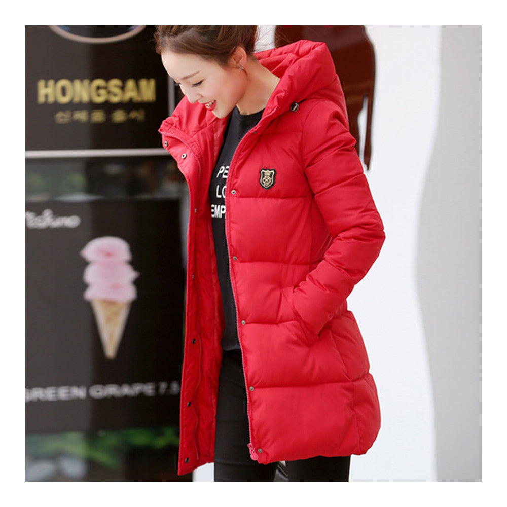 Super Long Down Coat Woman Thick Fashionable Thick   red    M - Mega Save Wholesale & Retail - 2