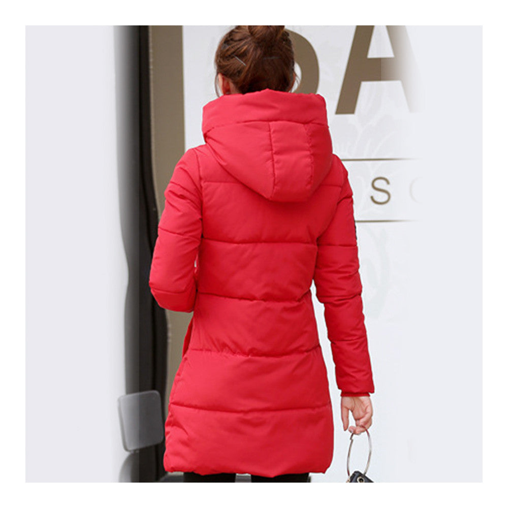 Super Long Down Coat Woman Thick Fashionable Thick   red    M - Mega Save Wholesale & Retail - 3