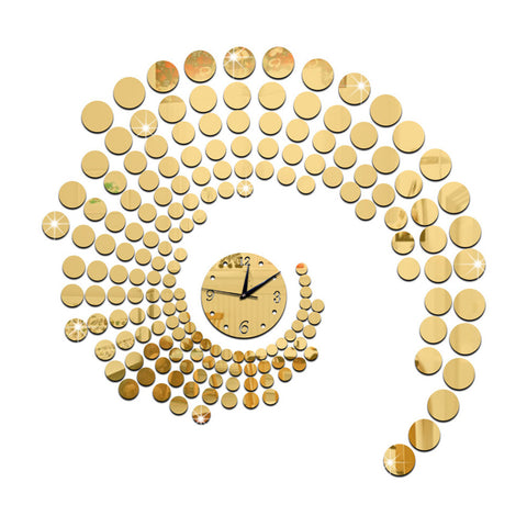 Circle Mirror Wall Clock Living Room   golden - Mega Save Wholesale & Retail