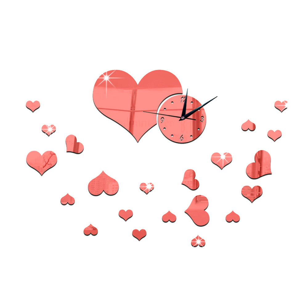 Mirror Wall Clock Love Heart DIY Creative Cartoon Decoration   red - Mega Save Wholesale & Retail