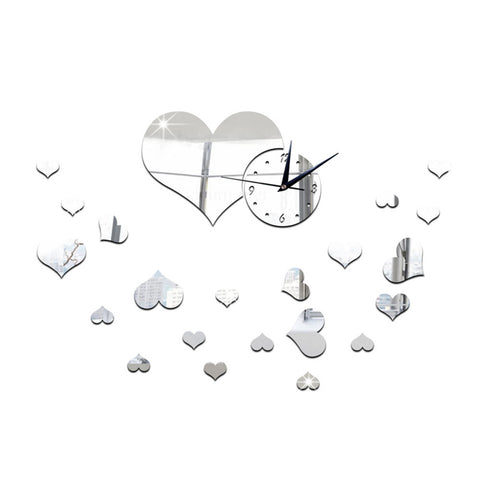 Mirror Wall Clock Love Heart DIY Creative Cartoon Decoration   silver - Mega Save Wholesale & Retail