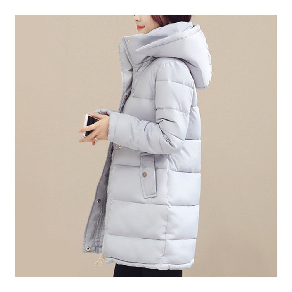 Winter Down Coat Woman Slim Hooded Thick Middle Long  grey   M - Mega Save Wholesale & Retail - 1