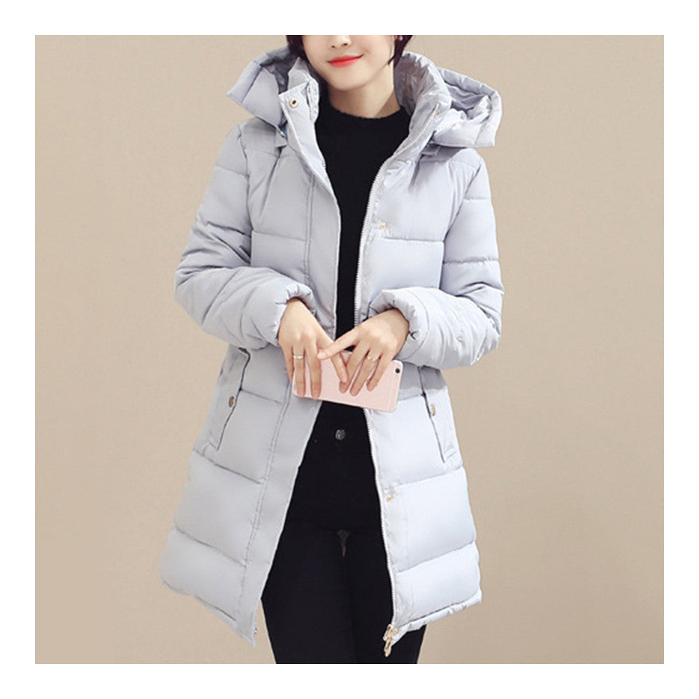Winter Down Coat Woman Slim Hooded Thick Middle Long  grey   M - Mega Save Wholesale & Retail - 2