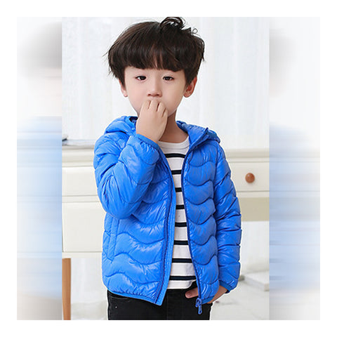 Child Wave Pattern Light Thin Down Coat Hooded   sapphire   100cm - Mega Save Wholesale & Retail - 1