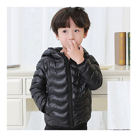 Child Wave Pattern Light Thin Down Coat Hooded    black    100cm - Mega Save Wholesale & Retail - 1