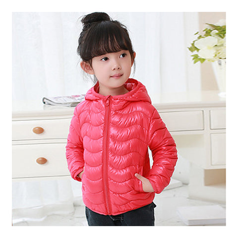 Child Wave Pattern Light Thin Down Coat Hooded   red    100cm - Mega Save Wholesale & Retail - 1