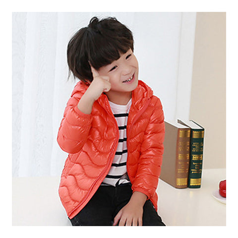 Child Wave Pattern Light Thin Down Coat Hooded   orange   100cm