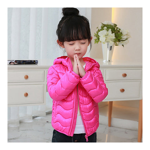 Child Wave Pattern Light Thin Down Coat Hooded   bright pink   100cm - Mega Save Wholesale & Retail - 1
