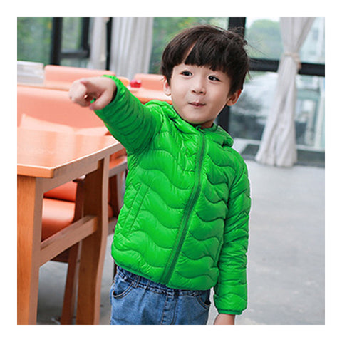 Child Wave Pattern Light Thin Down Coat Hooded   green   100cm - Mega Save Wholesale & Retail - 1