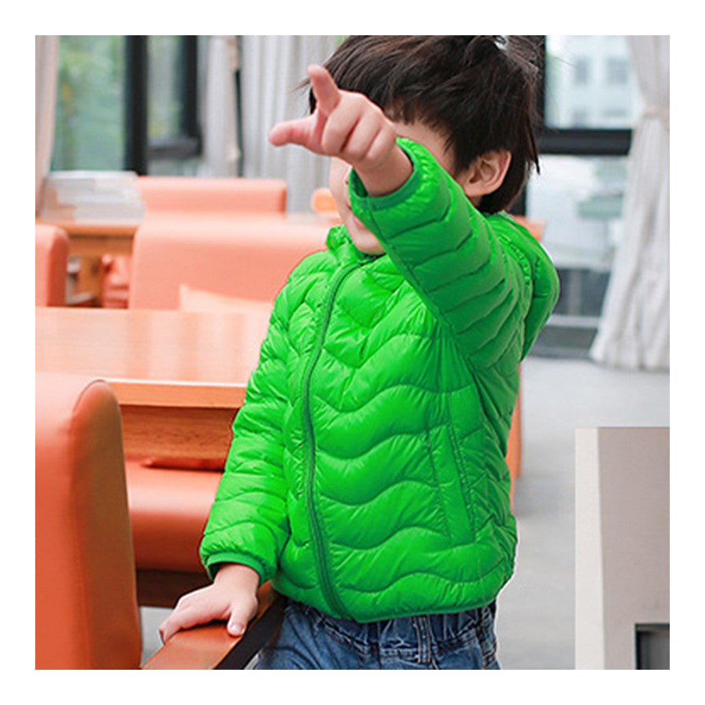 Child Wave Pattern Light Thin Down Coat Hooded   green   100cm - Mega Save Wholesale & Retail - 2