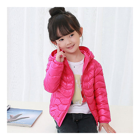 Child Wave Pattern Light Thin Down Coat Hooded   peach   100cm - Mega Save Wholesale & Retail - 1