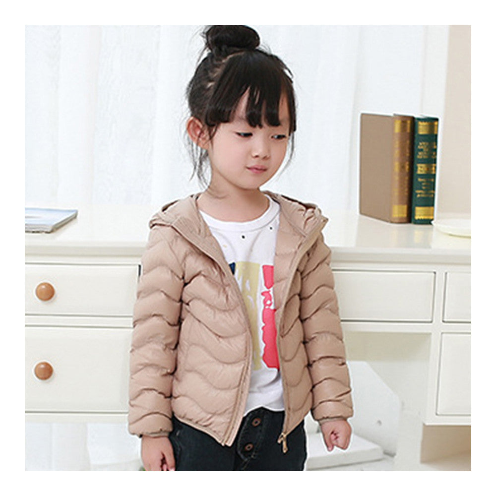 Child Wave Pattern Light Thin Down Coat Hooded   taupe   100cm - Mega Save Wholesale & Retail - 1