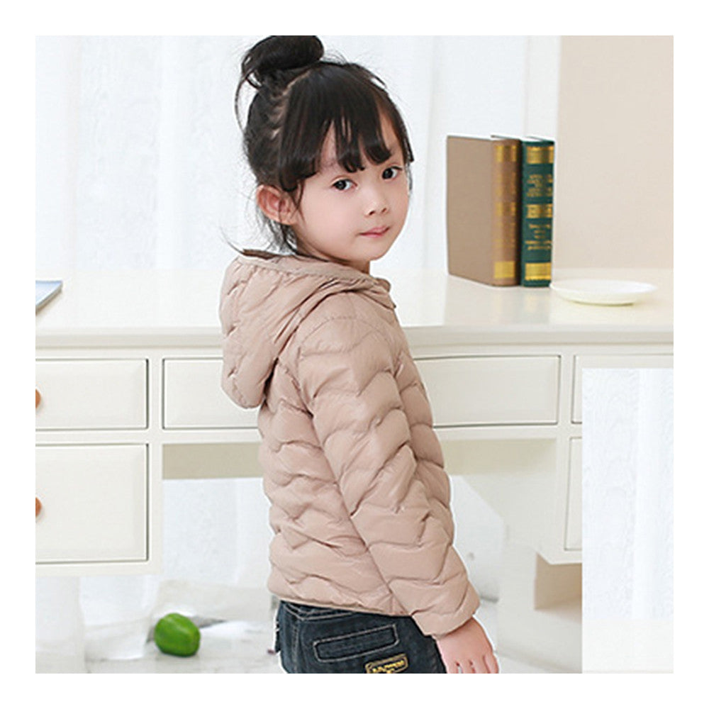 Child Wave Pattern Light Thin Down Coat Hooded   taupe   100cm - Mega Save Wholesale & Retail - 2