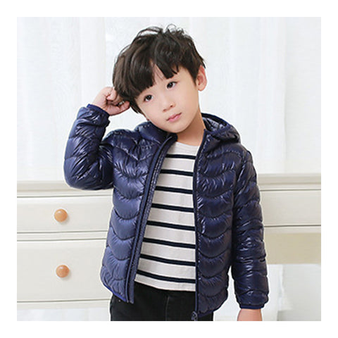 Child Wave Pattern Light Thin Down Coat Hooded   navy   100cm - Mega Save Wholesale & Retail - 1