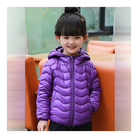 Child Wave Pattern Light Thin Down Coat Hooded   purple    100cm - Mega Save Wholesale & Retail - 1