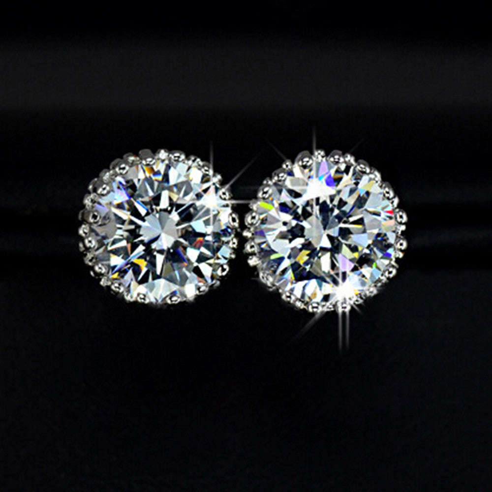 Platinum Galvanized Austrian Fake Crystal Zircon Ear Studs - Mega Save Wholesale & Retail