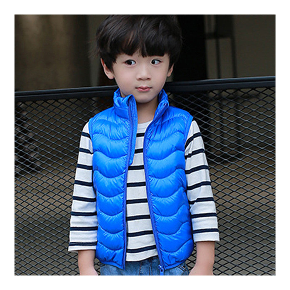 Child Thin Light Stand Collar Waistcoat Down Coat   sapphire   110cm - Mega Save Wholesale & Retail - 1