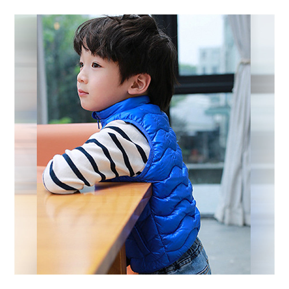 Child Thin Light Stand Collar Waistcoat Down Coat   sapphire   110cm - Mega Save Wholesale & Retail - 2