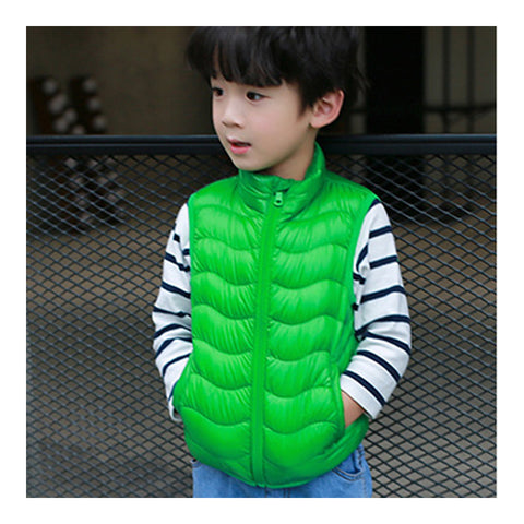 Child Thin Light Stand Collar Waistcoat Down Coat    green   110cm - Mega Save Wholesale & Retail - 1