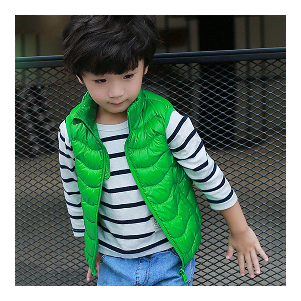 Child Thin Light Stand Collar Waistcoat Down Coat    green   110cm - Mega Save Wholesale & Retail - 2
