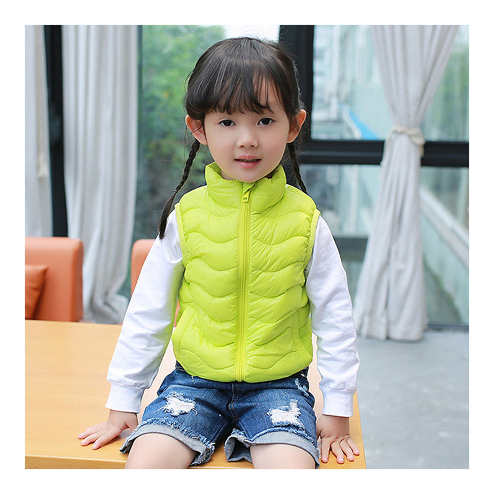 Child Thin Light Stand Collar Waistcoat Down Coat   fluorescent green   110cm - Mega Save Wholesale & Retail - 1
