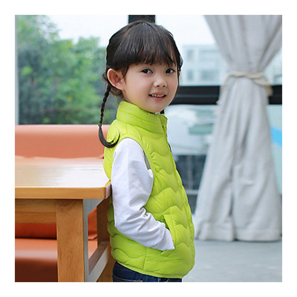 Child Thin Light Stand Collar Waistcoat Down Coat   fluorescent green   110cm - Mega Save Wholesale & Retail - 2