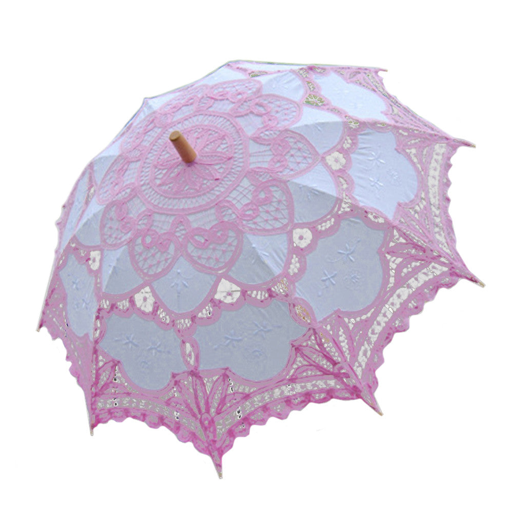 Handmade Cotton Craft Lace Macrame Children Umbrella Wedding Classical Photo   pink - Mega Save Wholesale & Retail